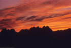 Sunrise over the Organ Mountains from Baylor Canyon Road